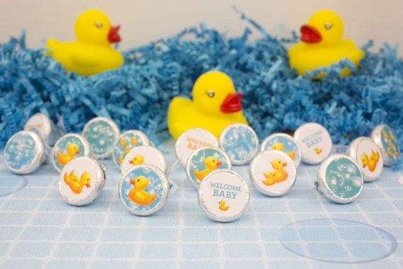 Rubber Ducky Baby Shower Decorations, Rubber Ducky Stickers, Bubble Bath  Stickers, Yellow Blue Duckie, Hershey Kisses Party Favor Stickers