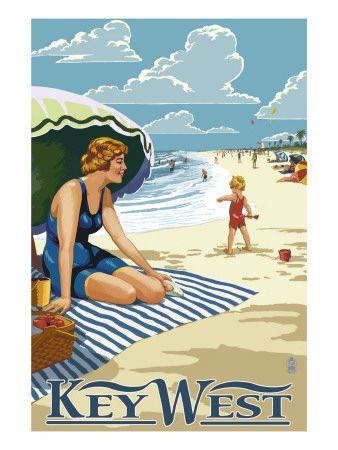 ღღ Key West, Florida - Beach Scene Premium Poster