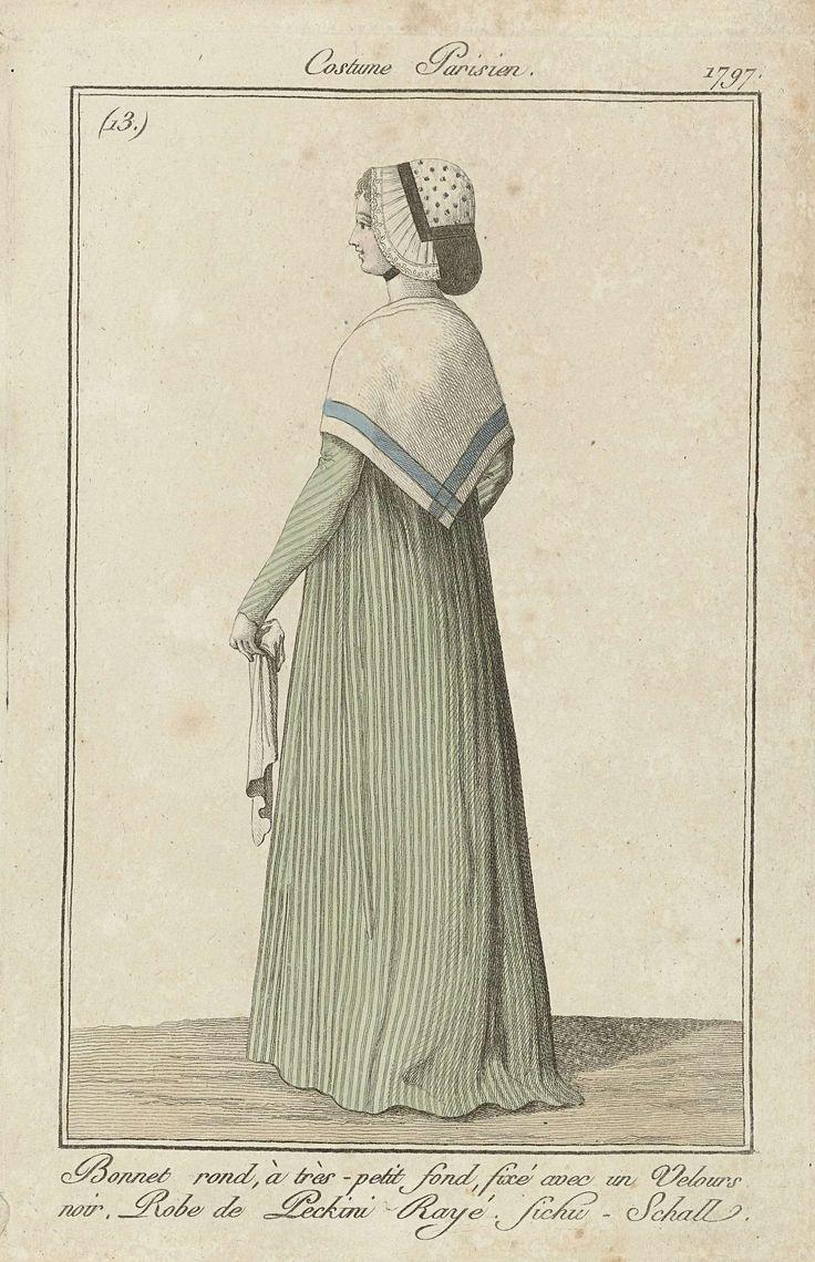 Journal des Dames et des Modes, Costume Parisien, 3 décembre 1797, (13) : Bonnet rond, à tres-petit fond..., Anonymous, 1797