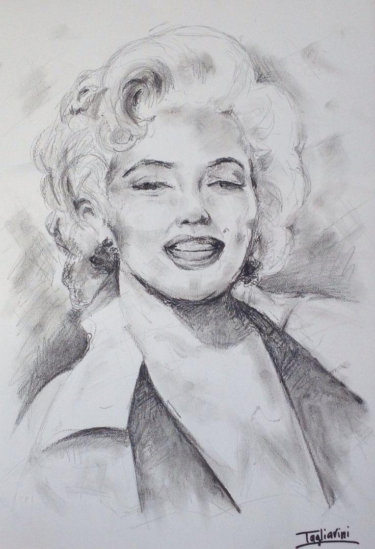 Marilyn-carboncino su carta 50x30