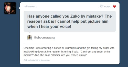 "She should have played it off cool. ""Okay One grande, white mocha, with a side of honor.  Anything else Prince Zuko?"""
