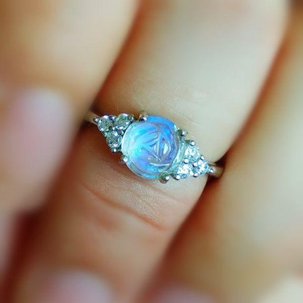 Handmade Natural Blue Moonstone Rose Dainty Ring In