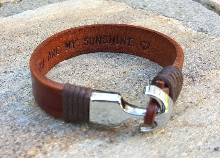 Personalized Hidden Message Bracelet, Nautical Leather Jewelry, Custom Message Bracelet, Personal Quotes, Genuine Leather, Memorial Gift