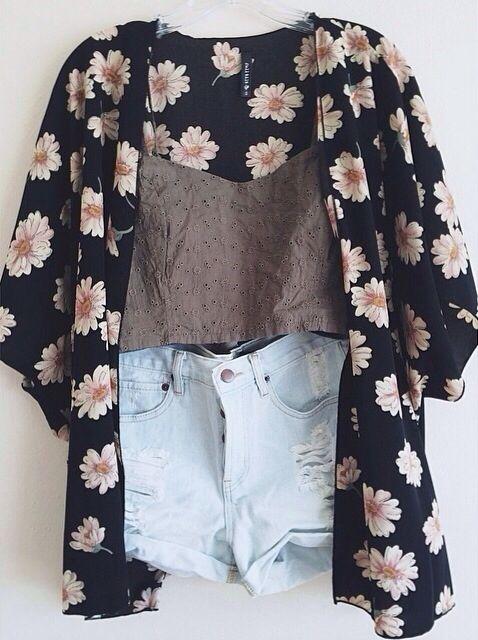 Jeans claro + blusa alça cinza + kimono