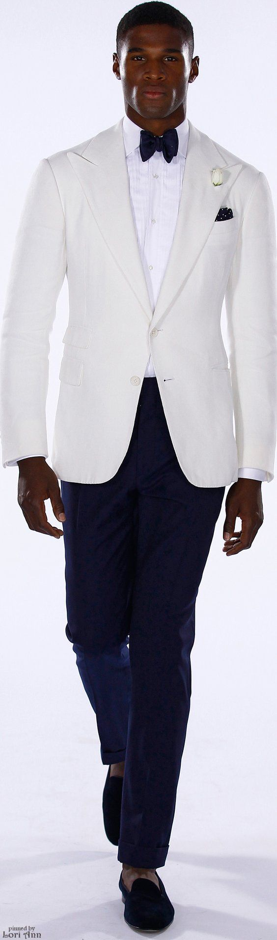 Ralph Lauren Spring 2016. white tuxedo jacket with blue bowtie and blue pants.