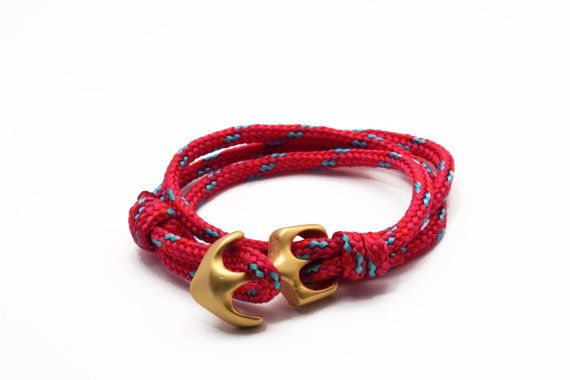 Triple row fuchsia rope bracelet with gold anchor by Beh1ndByMK