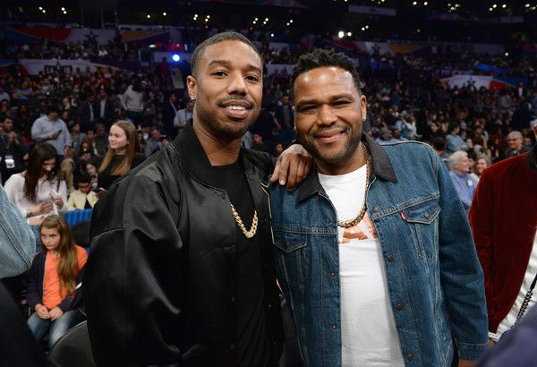 Michael B. Jordan and Anthony Anderson attend the NBA All-Star Game 2018 at Staples Center on February 18, 2018 in Los Angeles, California. - NBA All-Star Game 2018