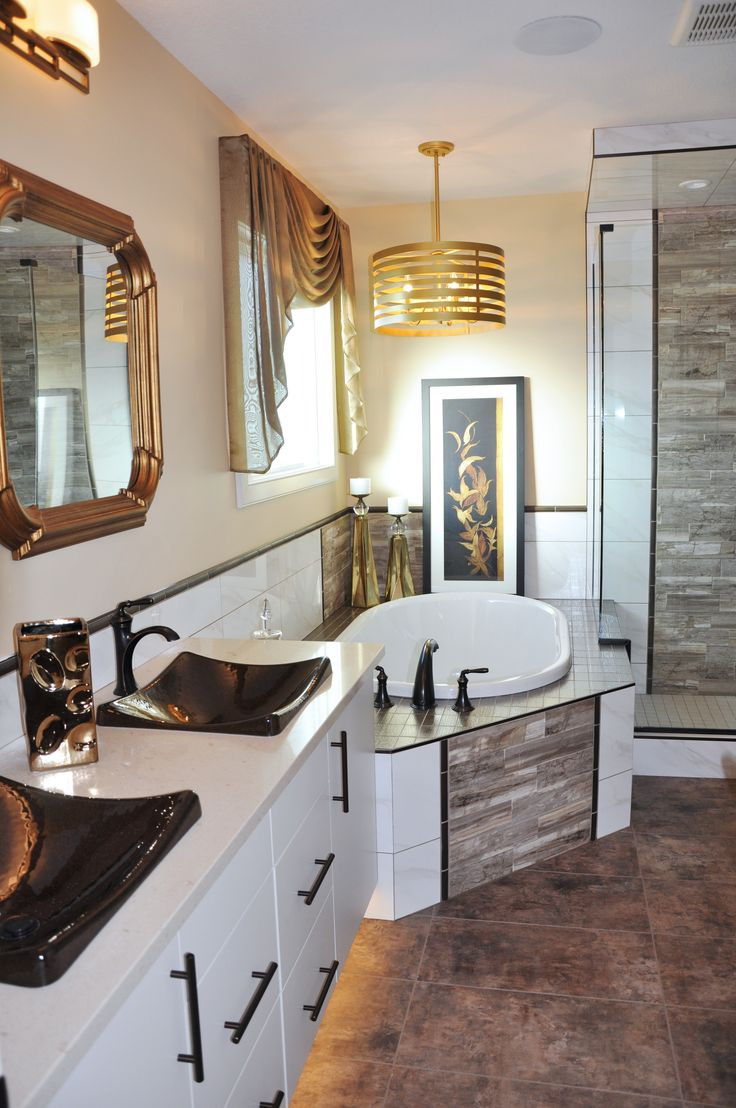 Different view of a submission from Abbey Master Builders in Alberta, Canada. This shows one of their homes with 2 of our Hannah Mirrors over the vanity