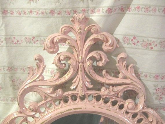 "RARE LG 31"" Homco/Syroco/Burwood VERY Ornate Carved Wall Mirror Chic Pink Shabby Cottage Paris Victorian"