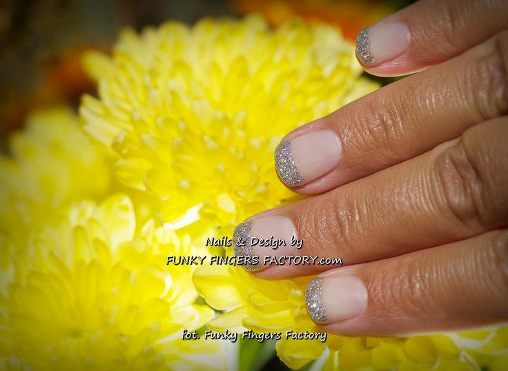Gelish Silver Glitter French Manicure