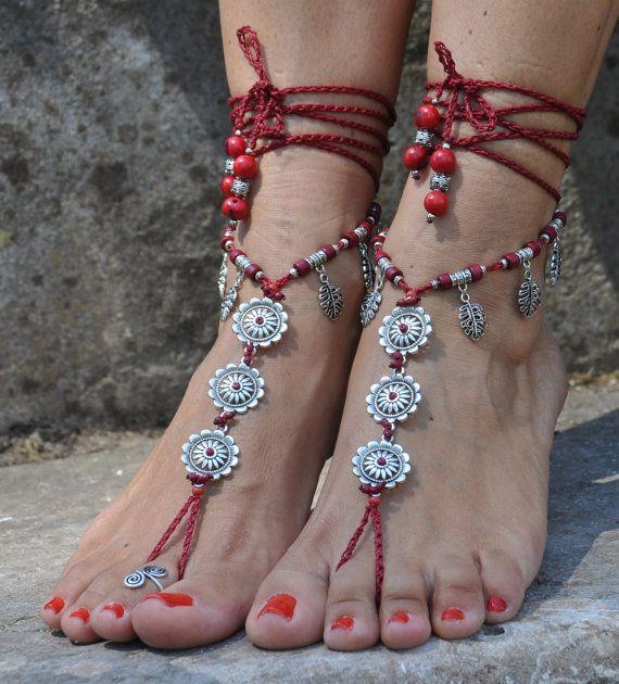Silver FLOWER BAREFOOT SANDALS Dark Red foot by PanoParaTanto