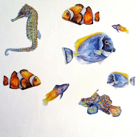 Fish Wall Stickers Tropical Fish Decor Underwater Wall Etsy Tropical Fish Decor Fishing Decor Fish Wall Art