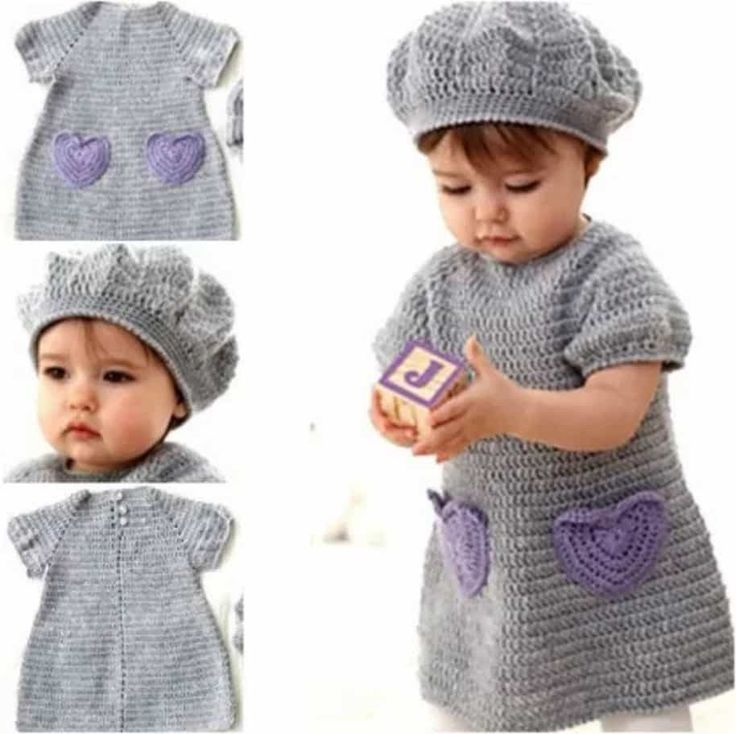You will love this adorable Crochet Heart Dress with pockets and it comes with a super cute crochet beret hat too. It's one of the free patterns featured.
