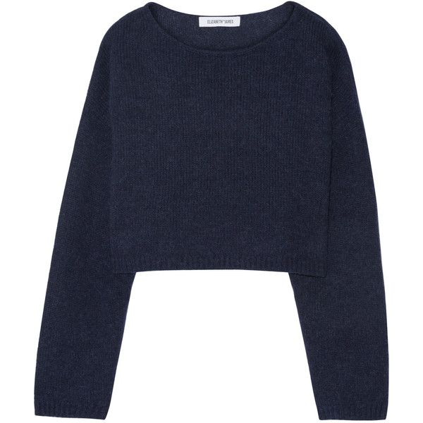 Elizabeth and James Vann cropped knitted sweater ($310) ❤ liked on Polyvore featuring tops, sweaters, navy, elizabeth and james, navy crop top, crop top, cut-out crop tops and slouchy tops