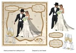 Wedding day card topper with pearls  rings and champagne on Craftsuprint - View Now!