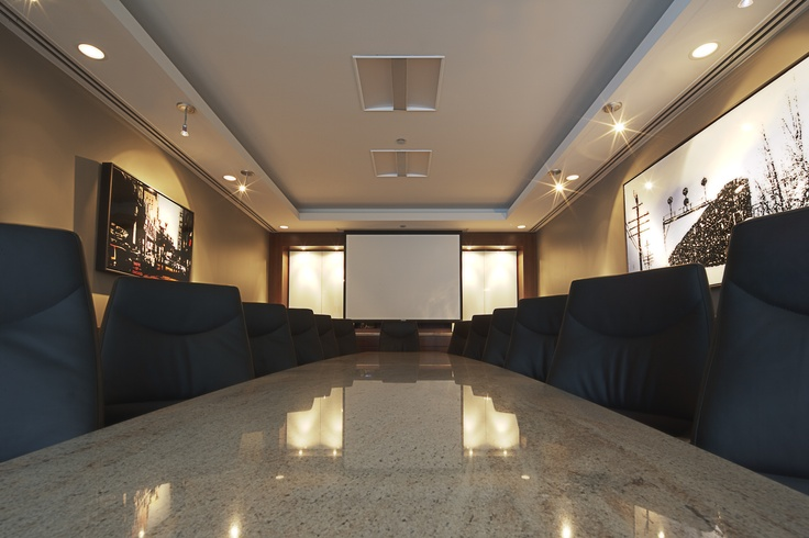 Boardroom with drop down projector screen