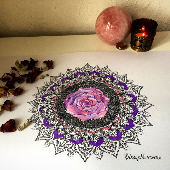 Rose Mandala, Handdrawn, Watercolor and Ink, Original, Artwork, Wallart, Art Print A3, Home Sweet Home, Mystic Art, Soul Art