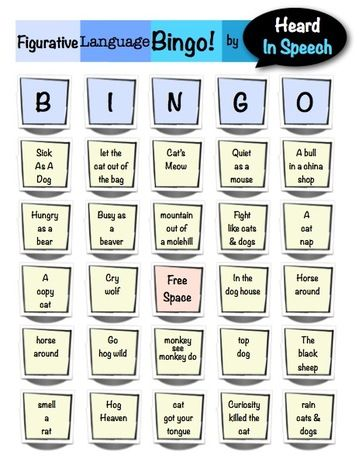 Figurative Language Bingo: Animal Idioms!
