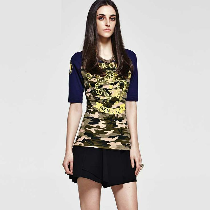 Women's Military Style Camouflage Spliced Round Collar Half Sleeve Slim T Shirt Women's Military Style T Shirt, Women's Half Sleeve Slim T Shirt, Women's Camouflage Spliced T Shirt, Women's Round Collar Half Sleeve Slim T Shirt