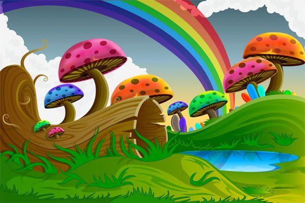 Colorful Cartoon Mushrooms Forest Scene - http://www.dawnbrushes.com/colorful-cartoon-mushrooms-forest-scene/