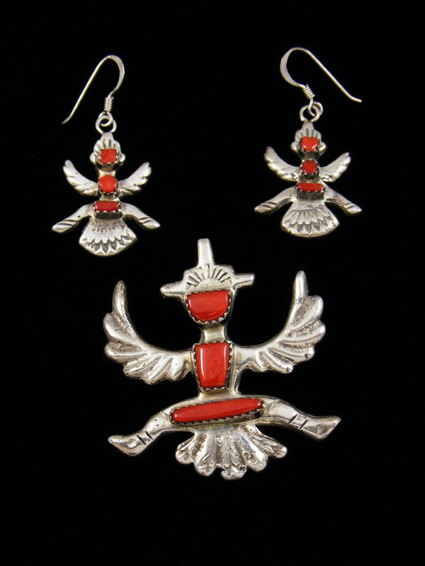 Estate Zuni Jewelry Sterling Silver Coral Pendant and Earrings Set by Cecilia Iule