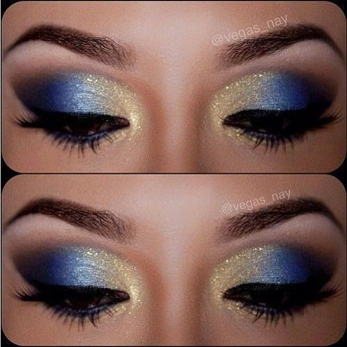 gold and blue eye makeup It's gorgeous ever though I won't wear it myself