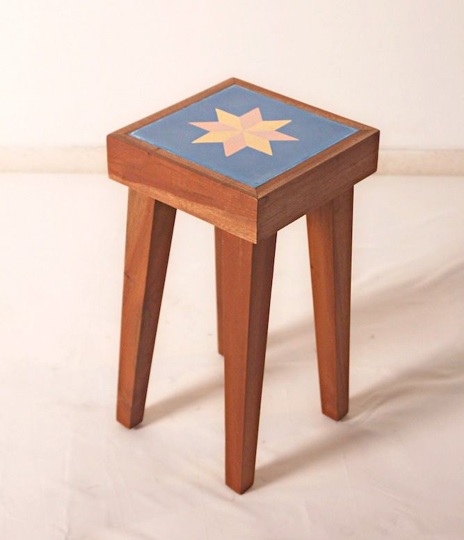 Big Stool with Tile. The material is made from solid mahoni wood with natural finishing and mix tile on the top. Size: 24,5cm x 24,5cm x height 45 cm