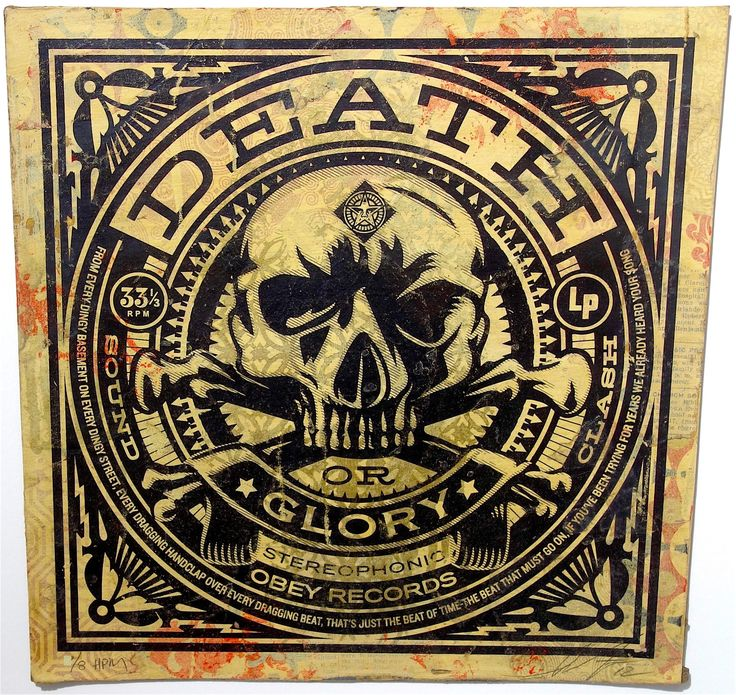"Shepard Fairey Death or Glory Album Cover HPM, 2012 Edition of 8 Medium: Silk screen print and mixed media on reclaimed album cover. Dimensions: 12"" x 12"" Framed"