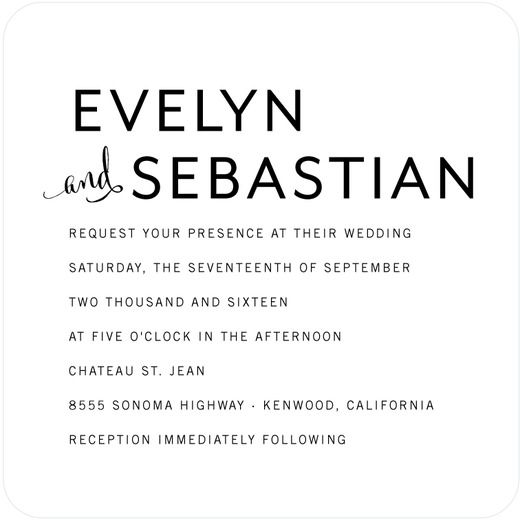 Perfect Simplicity - Signature White Wedding Invitations - Elm and Gray - White : Front