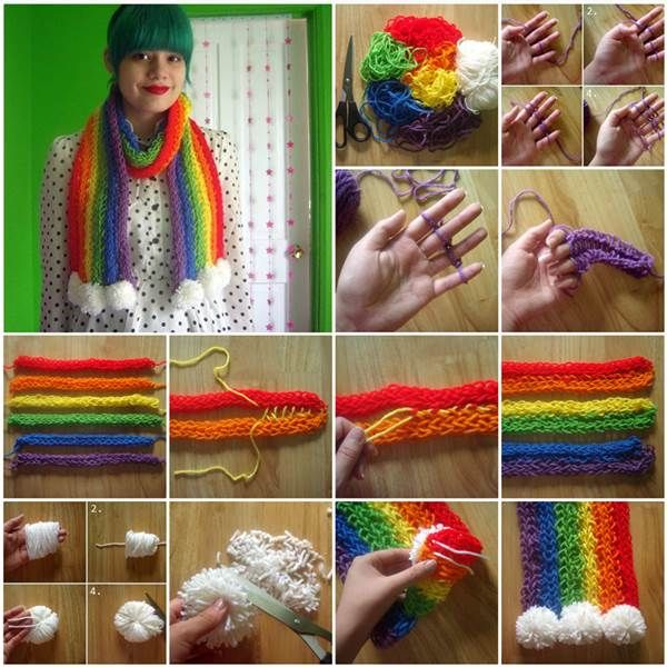 How to DIY Stylish Finger-Knitted Rainbow Scarf | iCreativeIdeas.com Like Us on Facebook ==> https://www.facebook.com/icreativeideas