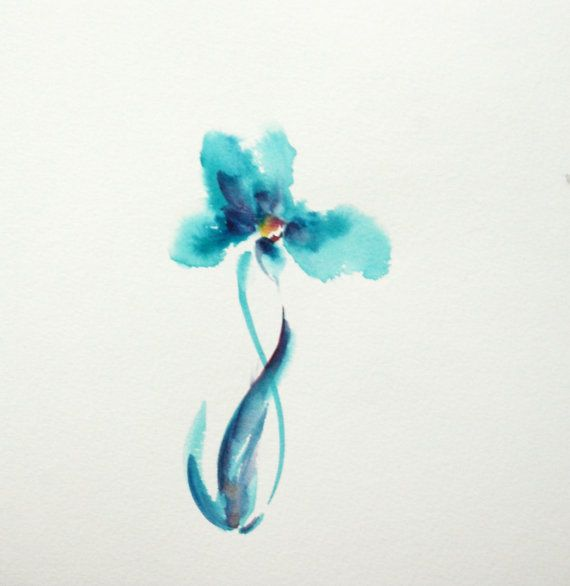 Original Watercolor Painting Of Abstract Minimalist By