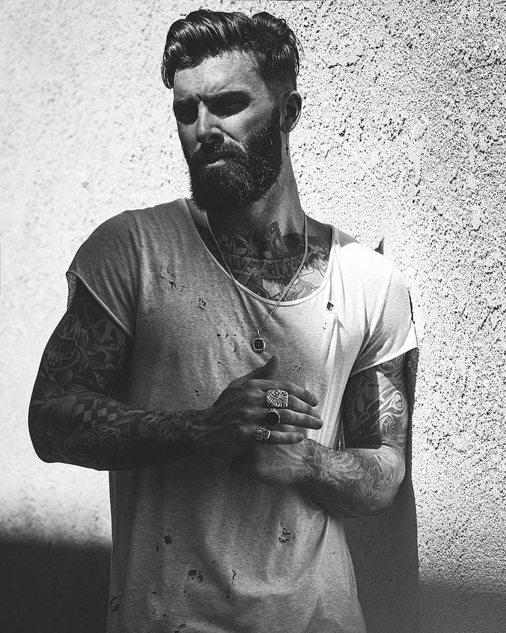 Levi Stocke - black and white portrait full beard and mustache beards bearded man men tattoos tattooed bearding handsome #beardsforever