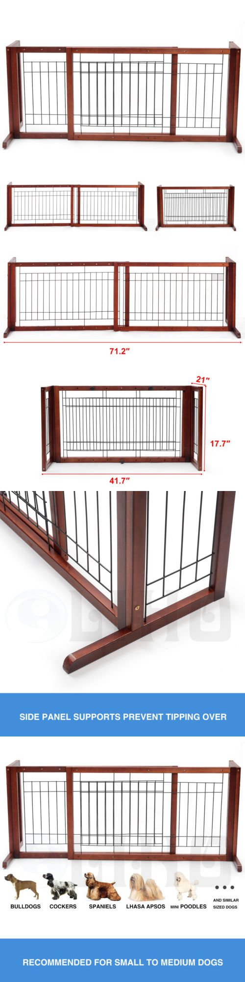 Baby Safety and Health 20433: Adjustable Solid Wood Pet Fence Free Standing Dog Gate Indoor Hallway Safe Gate -> BUY IT NOW ONLY: $39.9 on eBay!