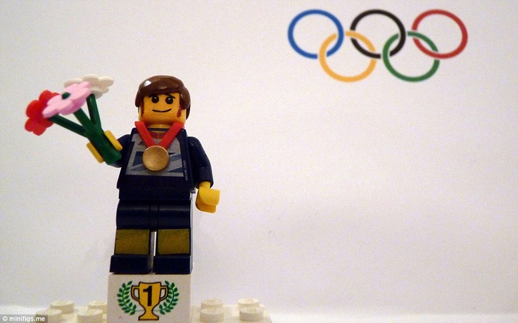 Team GB Lego cyclist Bradley Wiggins collects his gold medal on the podium after the road race! Awesome!!!!