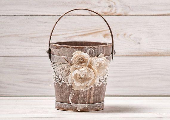 Flower Girl Basket Ivory Wedding Basket by InesesWeddingGallery