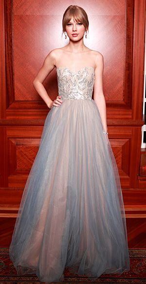 Taylor Swift: The singer worked her signature sparkle to fairy tale perfection in a pastel Reem Acra confection.