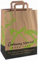 This bag is great for food service or grocery applications. Made from recycled kraft paper and printed with water based inks in the USA.
