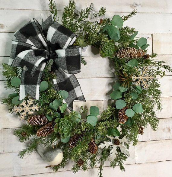 Succulent Winter Wreath Succulent Winter Door Decor Black Winter Door Decorations Front Door Christmas Decorations Winter Wreath
