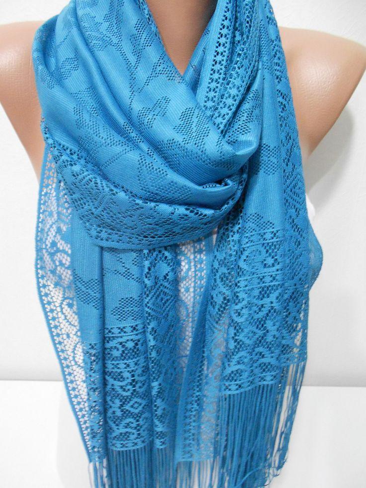 ScarfCluBMothers Day Gift Teal Blue Scarf Shawl Tulle Scarf Cowl Scarf www.scarfclub.net