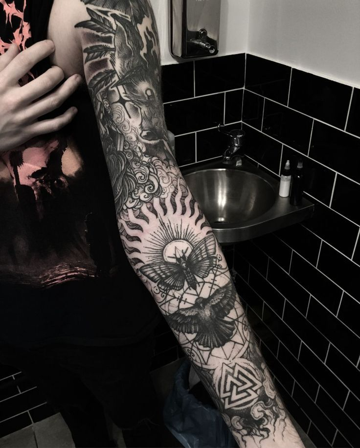 Phenomenal Full Sleeve Tattoo Featuring Negative Space And Beautiful Blackwork Tattoos Tattooide Sleeve Tattoos Full Sleeve Tattoos Sleeve Tattoos For Women