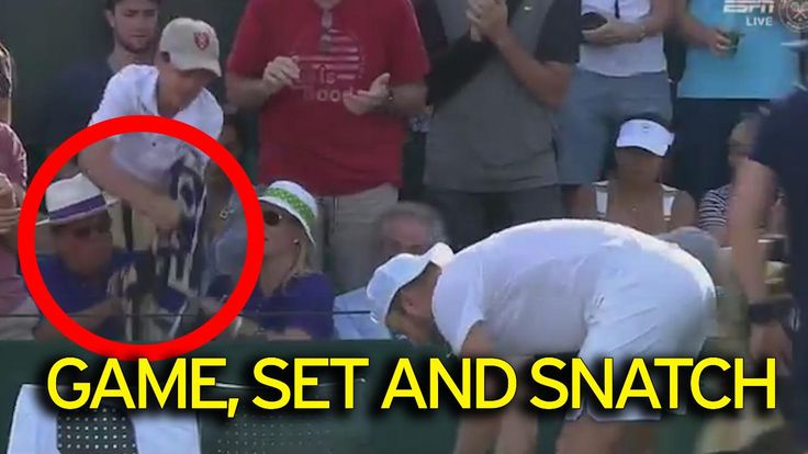 Wimbledon 2017 - Video footage shows US star Jack Sock throwing the souvenir into the crowd and a boy standing up to gather it - but he faces a tug-of-war for the prize. Happily Jack Sock has tracked the boy down, and everyone is now showering him with freebies.