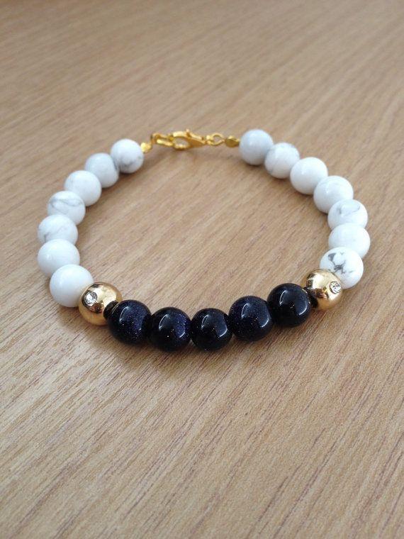Natural stone beaded bracelet howlite blue goldstone, gold