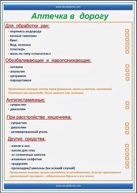 АПТЕЧКА В ДОРОГУ - СПИСОК МЕДИКАМЕНТОВ: