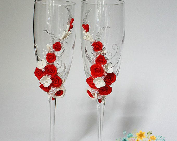 Copas de champán de la boda con hermosas rosas hechas a mano - boda tostado flautas - favor de la boda - boda regalo idea - vidrio de flor boda