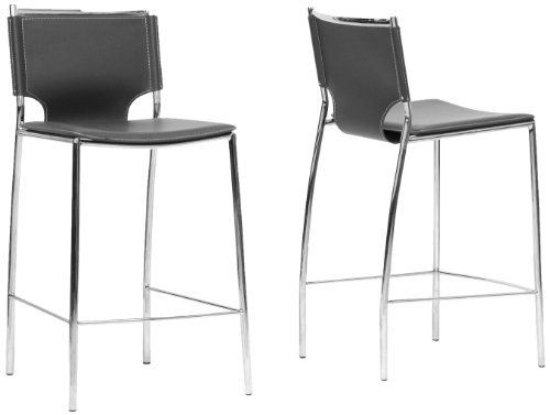 Baxton Studio Montclare Leather Modern Counter Stool, Black, Set of 2 by Baxton Studio. $399.59. Steel frame with chrome finish. Black plastic floor protectors. Black bonded leather with contrasting stitching. Contemporary counter stool. You will enjoy the clean design of this contemporary leather counter stool. The shine of the chrome-finished steel frame contrasts beautifully with the matte black bonded leather of the seat, both hallmarks of the Montclare design. The edge...