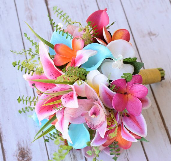 Wedding Hot Pink, Coral and Turquoise Aqua Natural Touch Orchids, Lilies, Callas and Plumerias Silk Flower Bride Bouquet – Robbin's Egg Mint