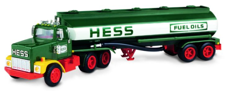 1984 Hess Fuel Oil Tanker with Bank:  This truck was an update from the 1977-78 Fuel Oil Tanker, where Hess introduced the first-ever coin slot at the rear of the tanker. Children could access money by turning the cap at the back of the truck. The unique coin slot idea because the major feature of the next three releases. This was also the last Hess truck to use a single D battery.
