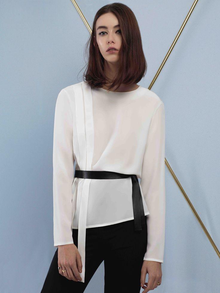 Sankt's Leather Belt Silk Blouse #FW16 #silk #blouse #shirt #leather #belt #minimalist #chic #sankt #wearesankt #fashion