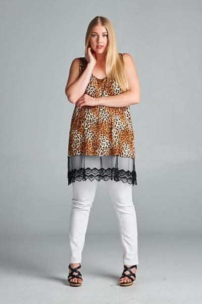 Brown Leopard Crochet Mesh Trim Plus Size Dress Top U.S.A