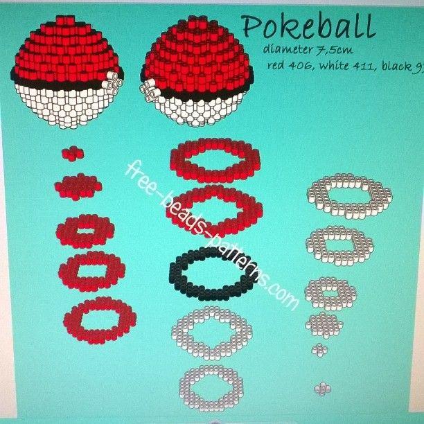 3D Pokeball Pokemon perler pattern by  freebeadspatter